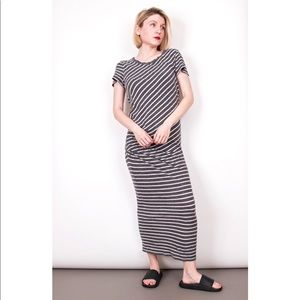James Perse gray striped tucked tee maxi dress
